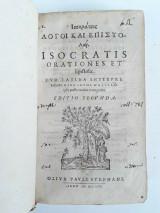 Ισοκράτους Λόγοι και Επιστολαί Isocratis Orationes et Epistolae 1604